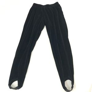 Liz Wear Pants - Vintage 80's LizWear Black Velour Stirrup Pants M